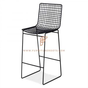 FR Barstools Series Bar Height Metal Stool with Mesh Seat & Backrest in Black