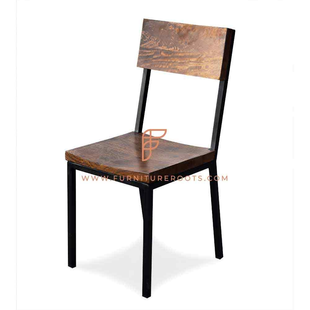 FR Chairs Series Industrial-Design Side Chair in Metal and Wood