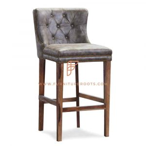 Bespoke Full-Back Wooden Barstool with Tufted Vinyl Upholstery