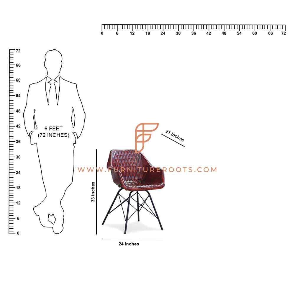 Chaise de salle à manger design en métal FR Chairs Series avec revêtement en cuir au fini acajou
