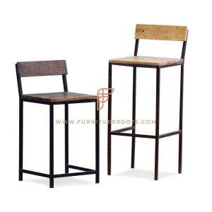 Rustic Industrial-Design Side Chair and Barstool in Natural Finish (Set of 2)