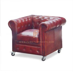 FR Accent Chairs Series 1-Seater Leather Tufted Tuxedo Lounge Chair in Solid Wood Frame