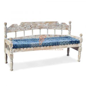 FR Benches Series Vintage 3-Seater Patchwork Fabric Upholstered Hand Carved Wooden Bench in White Distressed Finish