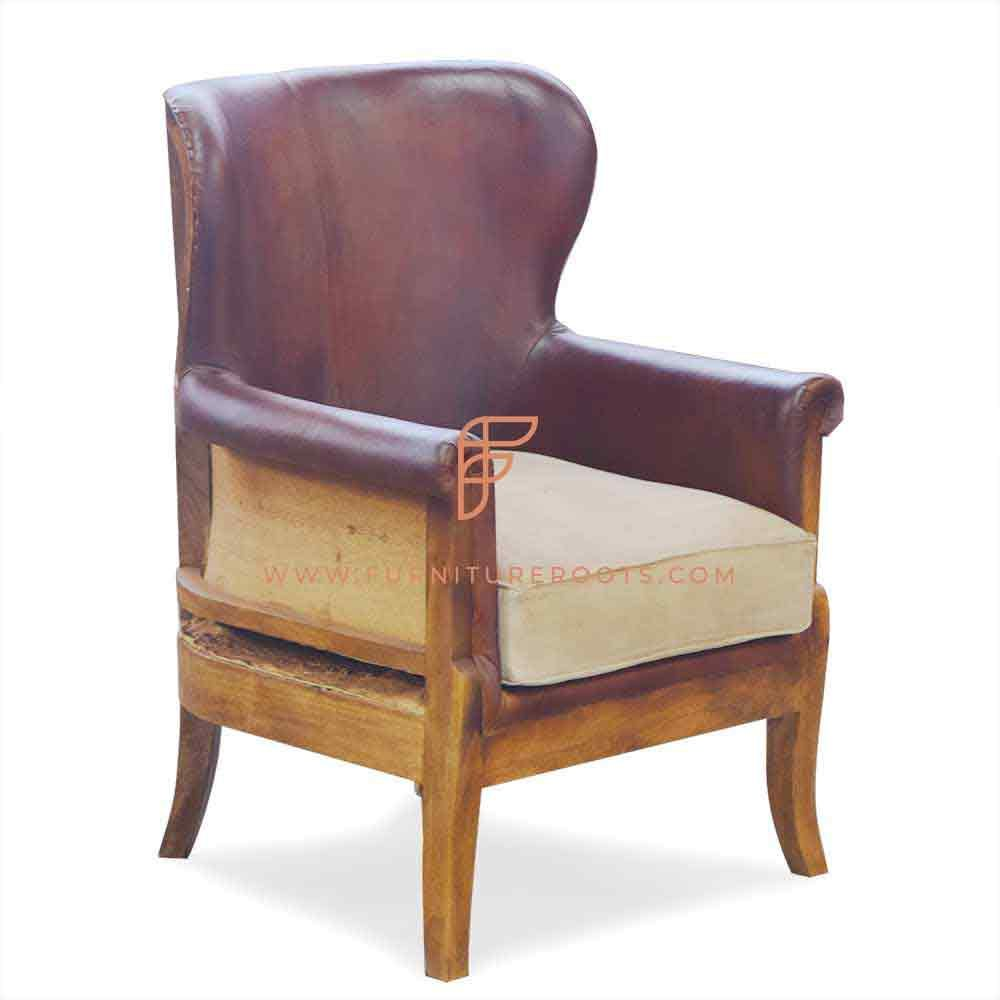 FR Accent Chair Series 1-Seater Leather Upholstered Wingback Roll-Arm Lounge Chair with Exposed Solid Wood Structure