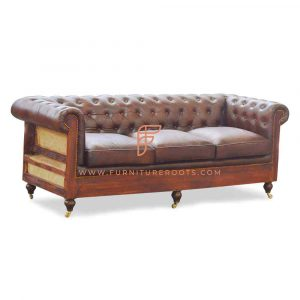 FR Sofas Series 3-Seater Leather Upholstered Chesterfield Sofa with Exposed Solid Wood Structure and Designer Wheeled Base