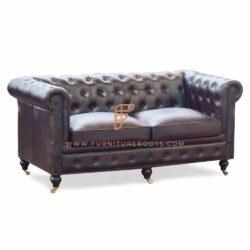 Divani FR Serie 2 posti divani Chesterfield imbottiti in pelle con struttura in legno massello e base con ruote di design