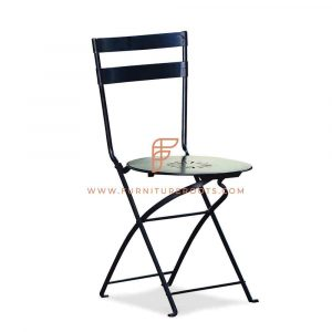 Metal Folding Restaurant Chair in Black
