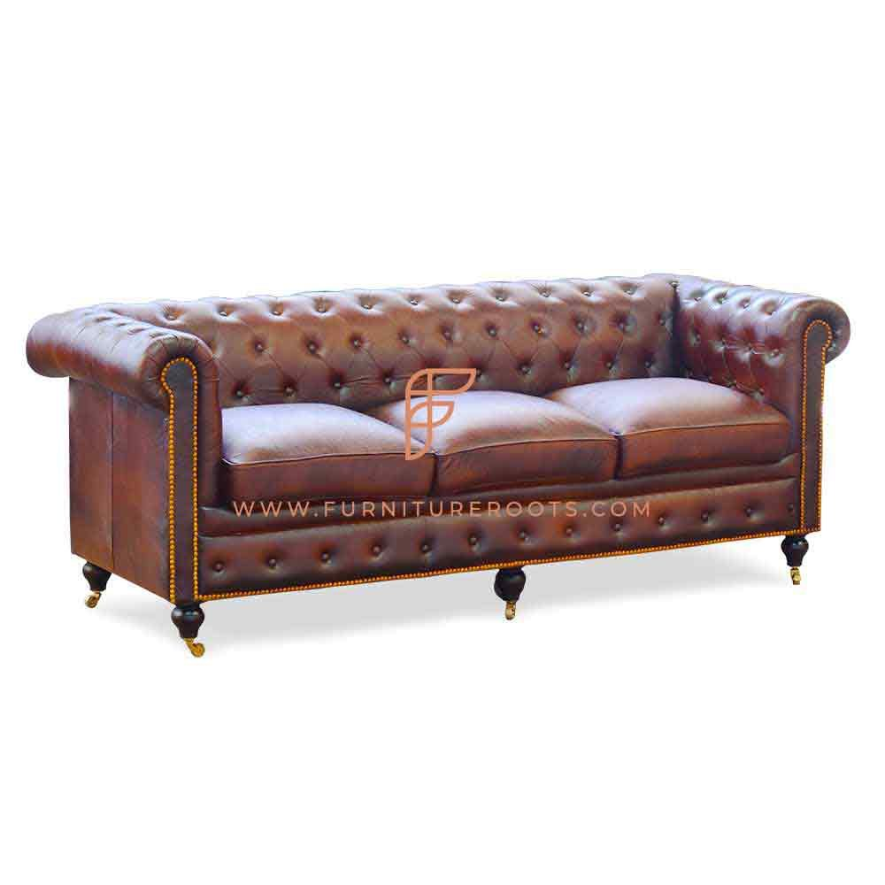 FR Sofas Series 3-Seater Leather Upholstered Chesterfield Sofa with Solid Wood Structure and Designer Wheeled Base