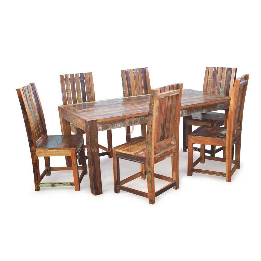 FR Dining Sets Series 6-Seater Reclaimed Wood Dining Table and Slat-Back Chairs
