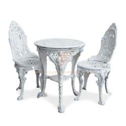 Обеденный стол из чугуна в викторианском стиле с 2 чугунными элементами белого цвета