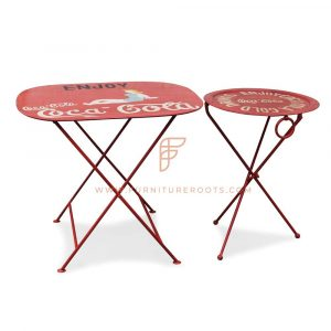 Metal Folding Coffee Table in Red with Custom Motifs