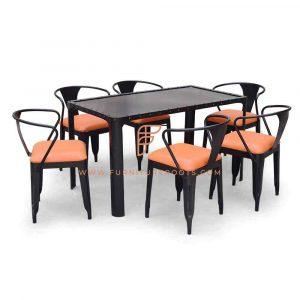 FR Dining Sets Series metalen eettafel in zwart met 6 vinyl beklede metalen stoelen