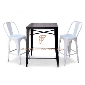 FR Dining Sets Series Metal Bar Height Table in Black with 2 Metal Barstools in White