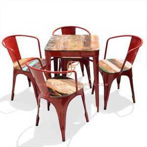 Dining Sets Series Reclaimed Wood Top Dining Height Table with 4 Leather Reclaimed Seat Top Metal Chairs in Red