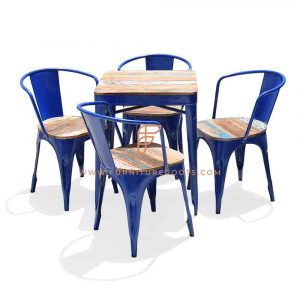 Dining Sets Series Reclaimed Wood Top Dining Height Table with 4 Leather Reclaimed Seat Top Metal Chairs in Blue