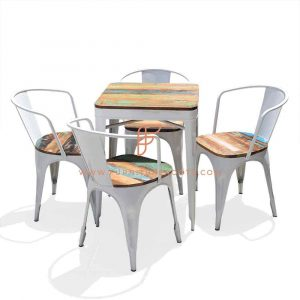 FR Dining Sets Series Reclaimed Wood Top Dining Height Table with 4 Leather Reclaimed Seat Top Metal Chairs in White