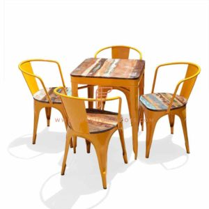 Dining Sets Series Reclaimed Wood Top Dining Height Table with 4 Leather Reclaimed Seat Top Metal Chairs in Yellow