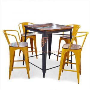 FR Dining Sets Series Reclaimed Wood Top Bar Height Table with 4 Tolix Barstools in Yellow