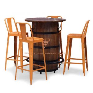 FR Dining Sets Series Bar Height Barrel Table with 4 Bar Height Metal Tolix Stools in Orange