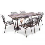 Обеденные наборы серии Industrial-Design Обеденный стол с 6 металлическими сетками в коричневом цвете