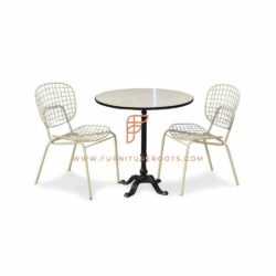 Dining Sets Series Dining Height Round Marble Top Table with 2 Metal Mesh Chairs in White