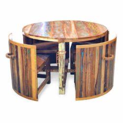 Dining Sets Series ronde cabine met eettafel en 4 stoelen in teruggewonnen hout