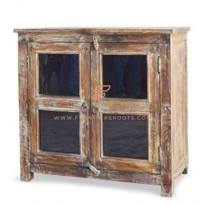 FR Cabinet Furniture Series Wooden Server 36″ Wide in Distressed Finish and Glass Panels