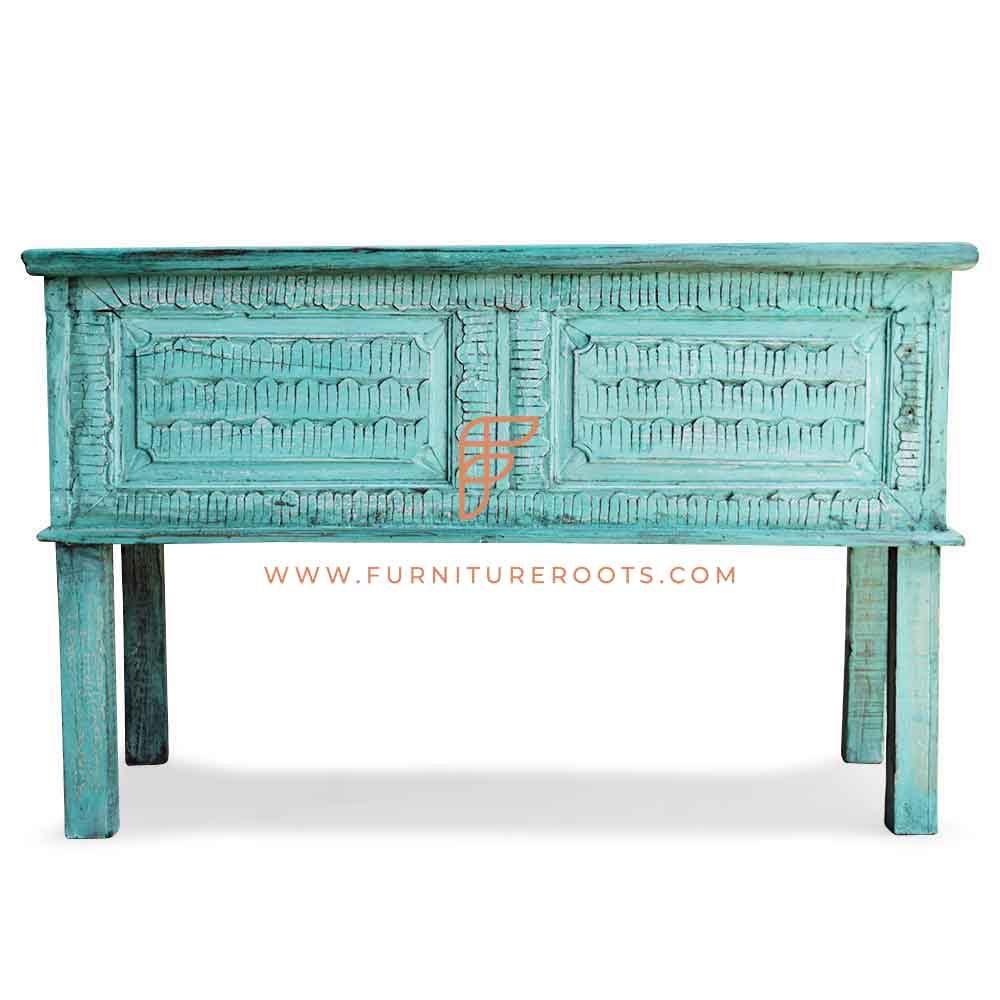 Coffre de rangement d'accent sculpté par série de meubles d'armoire FR au fini vert en détresse