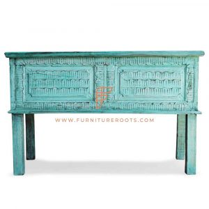 Green Distress Storage Console Table