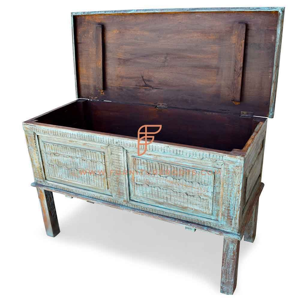 FR Cabinet Furniture Series Carved Accent Storage Trunk in Distressed Finish