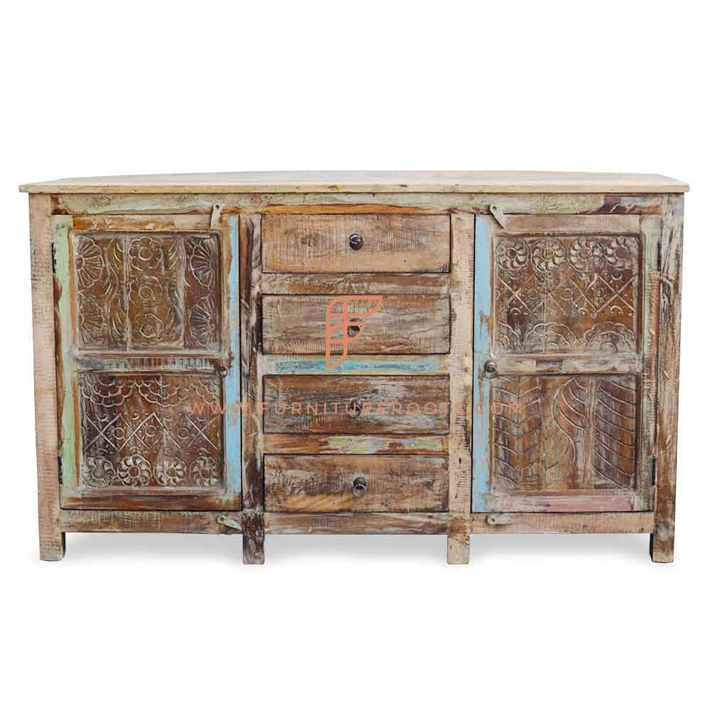 FR Cabinet Furniture Series Hand Carved Sideboard Sideboard 60″ Wide 4-Drawer in Distressed Finish