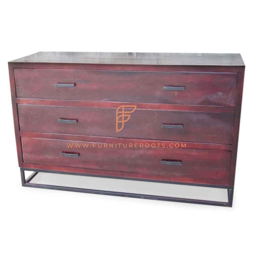 "Solid Wood 58"" Wide Dresser 3-Tier 2-Wide in Cabernet Finish"