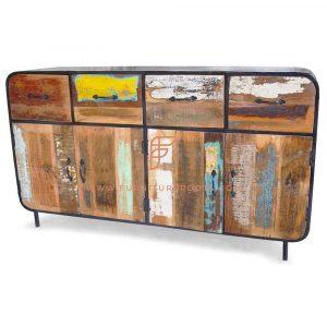FR Cabinet Furniture Series Wide Rustic Industrial Sideboard in Reclaimed Wood 4-Doors & 4-Drawers