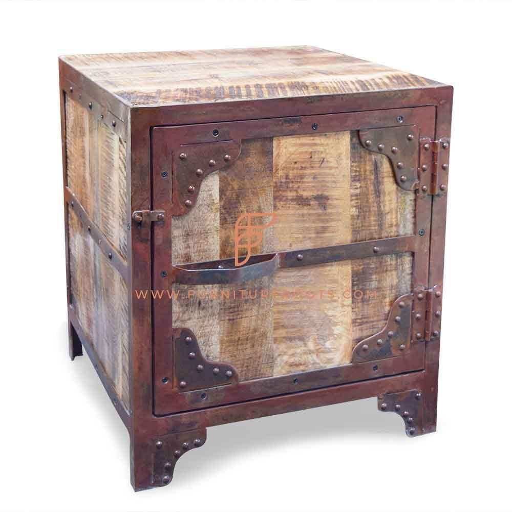 FR Nightstands Series Industrial Bedside Table in Metal & Wood in Rough Sawn Finish