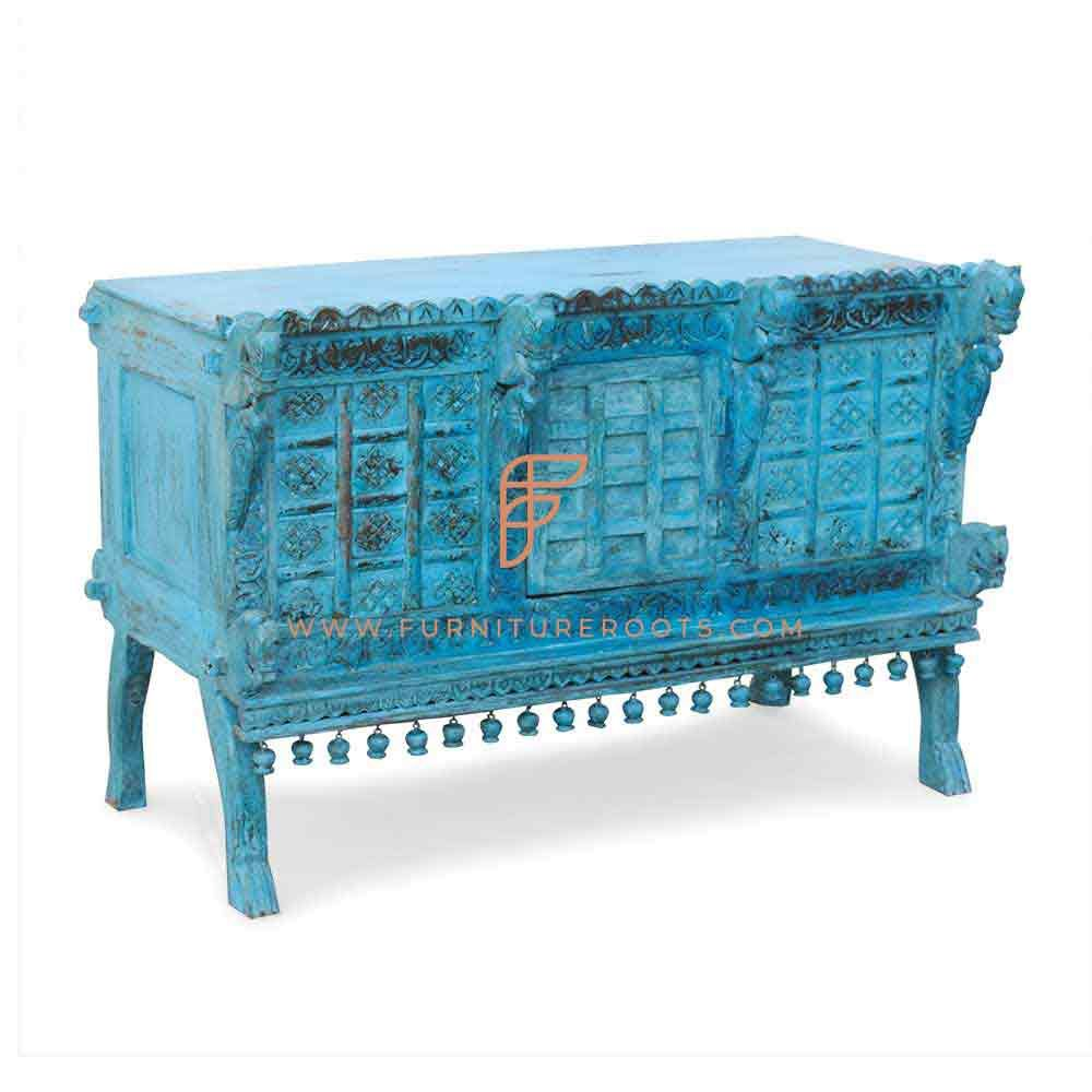 FR Console Table Series Indian-Style Carved Accent Console In Cyan Distress Finish