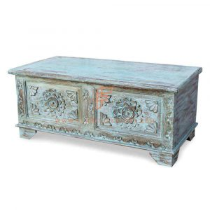 Cabinet Series Vintage Hand Carved Accent Storage Chest In Distressed Teal Finish