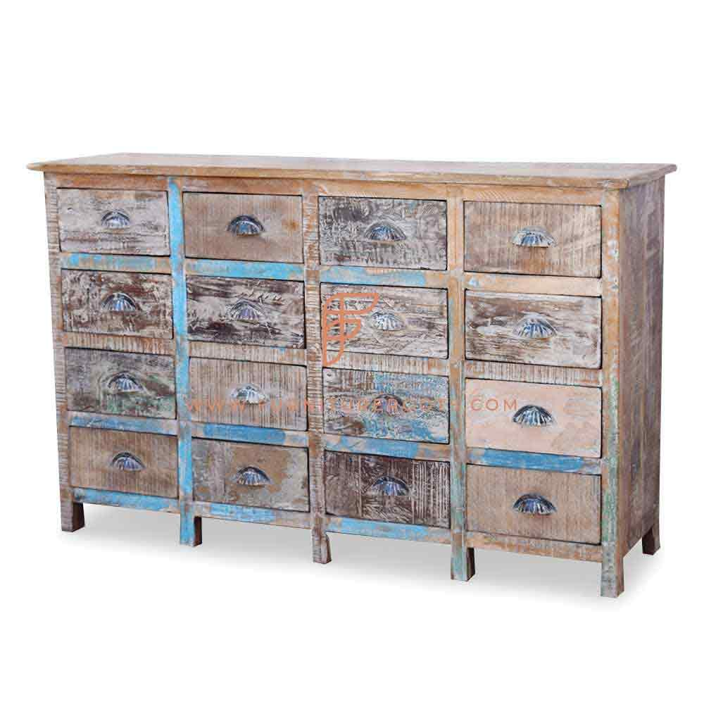 Cabinet Series Rustic Accent Drawers Cabinet 4-Tier 4-Wide In Rough Sawn Distressed Finish