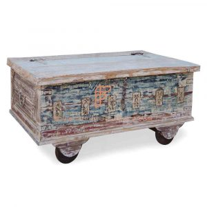 FR Cabinet Series Vintage Carved Accent Storage Trunk In Distressed Finish With Wheels