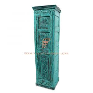 Cabinet Series Single Door Wooden Accent Wardrobe In Cyan Distress Paint Finish