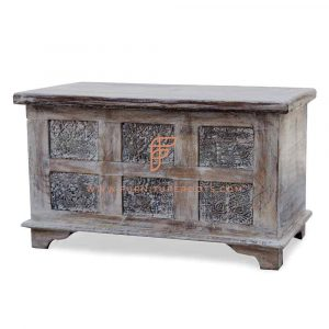 Cabinet Furniture Series Antique Reproduction Accent Storage Trunk With Inlaid Handcarved Blocks