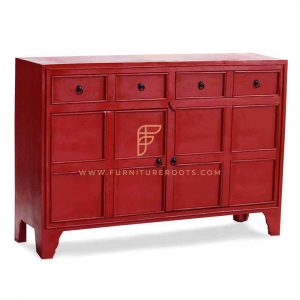 Cabinet Furniture Series Wooden Sideboard With Red Distressed Finish