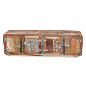 FR Cabinet Furniture Series Reclaimed Wood TV Stand With Retro Refrigeration Unit Door Knobs