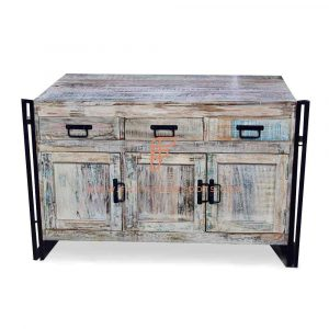 FR Cabinet Furniture Series Industrial Metal & Wood Sideboard In White Distressed Finish