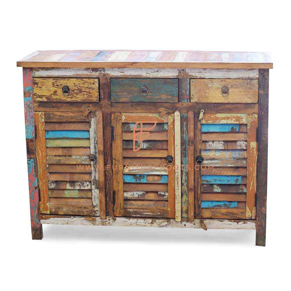FR Cabinet Series Accent Sideboard In Eco-Friendly Reclaimed Wood With 3 Louvered Doors & 3 Drawers