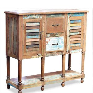 Cabinet Series High Top Reclaimed Wood Buffet Table With 2 Louvered Doors & 2 Drawers