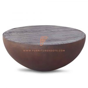 Drum Coffee Table in Metal Base in Rust Brown Finish and Rough Sawn Wood Top
