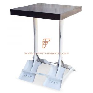 FR Tables Series Metal Bar Height Table with Paddle Legs and Black Table Top