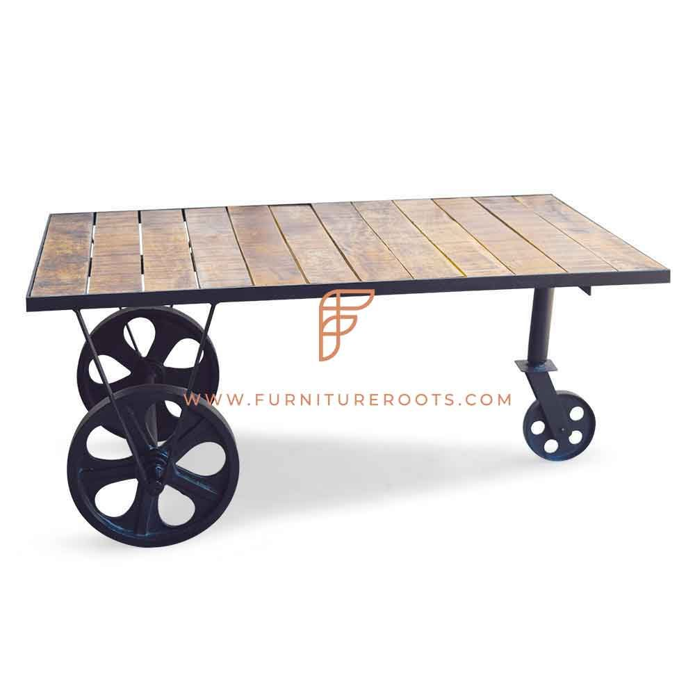 Rectangular Coffee Table with Steampunk Wheels and Panelled Wood Top