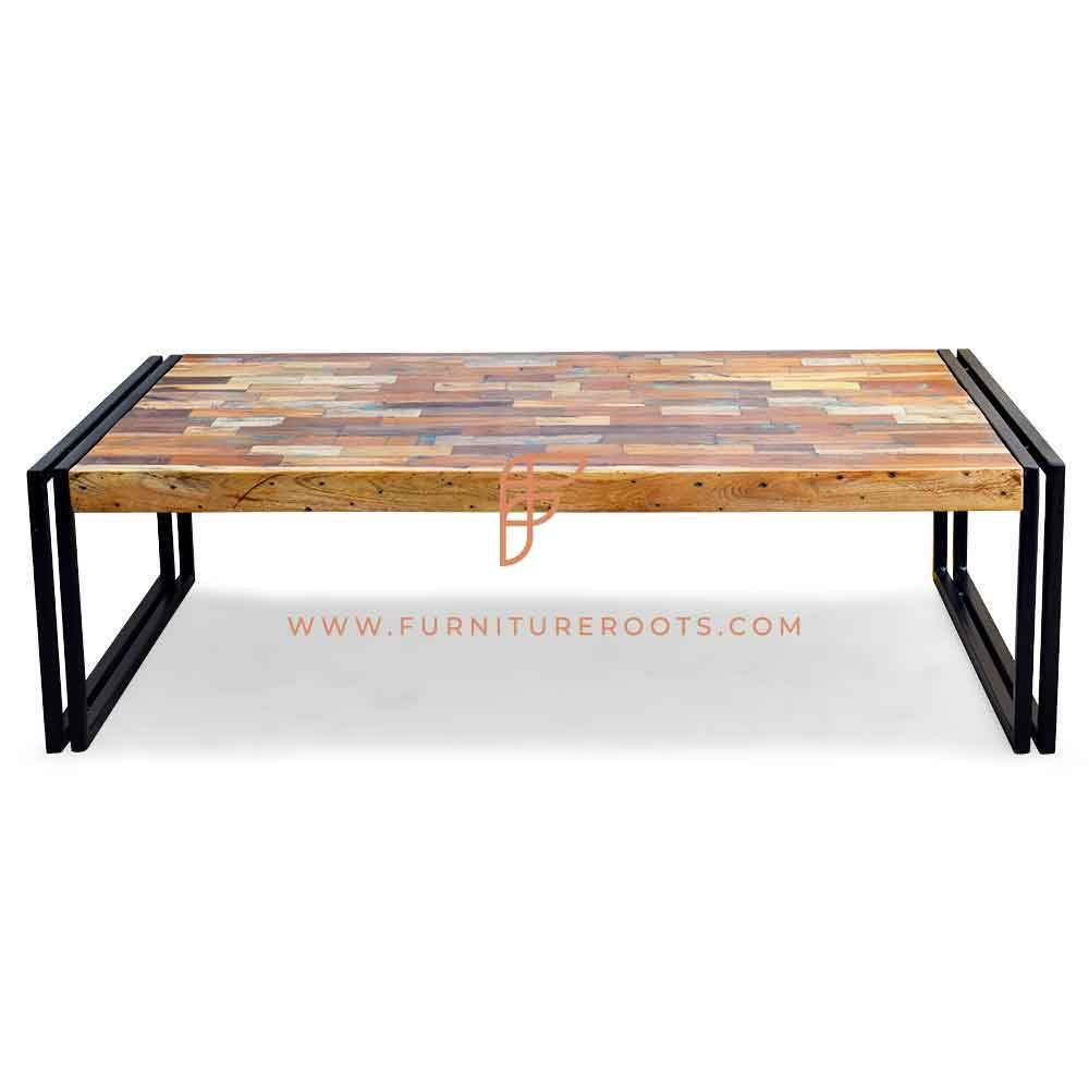 FR Coffee Tables Series Rectangular Coffee Table with Lateral Sled Base and Parquet Wooden Top