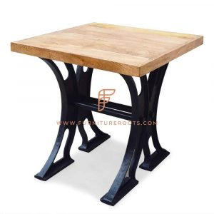 FR Restaurant Tables Series 2-Seater Square Dining Table with Lateral Trestle Legs Base and Wooden Top